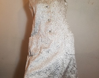FREE  SHIPPING  1960 Mod Metallic Brocade  Dress