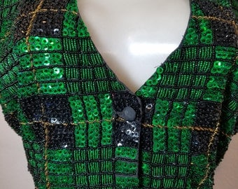 FREE  SHIPPING  1980 Sequin Bead Vest