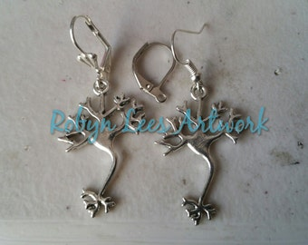 Silver Brain Neuron Earrings on Silver Earring Hooks, Leverbacks or Scalloped Leverback. Anatomy, Anatomical, Biology, Science, Doctor