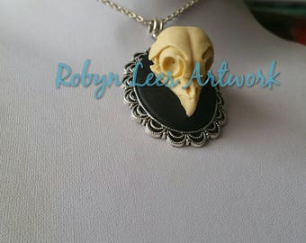 Large Resin Owl Bird Skull Cabochon Necklace on Silver Crossed Chain or Black Cord. Gothic, Victorian, Costume, Anatomy, Wiccan, Pagan