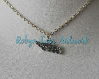Tiny Silver Tennessee State Charm Necklace on Silver Crossed Chain or Black Faux Suede Cord. America, USA