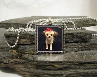 25mm Square Pendant Necklace, Custom Photo Pendant Necklace