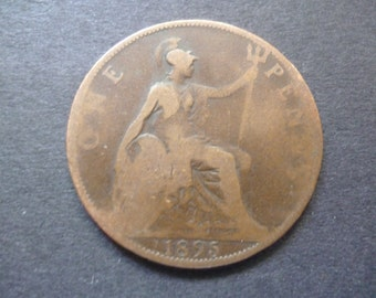 Great Britain 1895 one penny coin, Queen Victoria, an ideal gift or for craft or jewellery making in good used (circulated) condition.