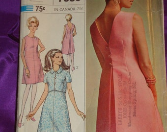 1960s 60s Vintage Sleeveless A Line Dress w Center Back Inverted Pleat n Crop Jacket COMPLETE Simplicity Pattern 7386 Bust 36 Inch 92 Metric