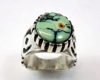 Prince Variscite  and Sterling Silver Ring, Size 7, southwestern jewelry, boho necklace, gypsy ring, hand stamped, modern, gift jewelry