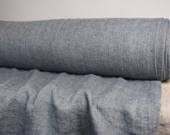 Pure 100% linen fabric 240gsm. Herringbone pattern, not dyed flax & navy blue. Medium-heavy weight, washed-softened. For all season clothes