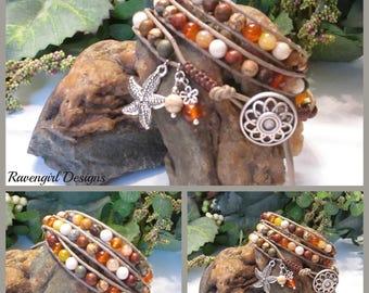 PEBBLES Beaded 3x Leather Wrap with Natural Gemstones, Triple Leatherrr Wrap, Brown, Boho Vintage Style Handmade Jewelry, Ravengirl Design
