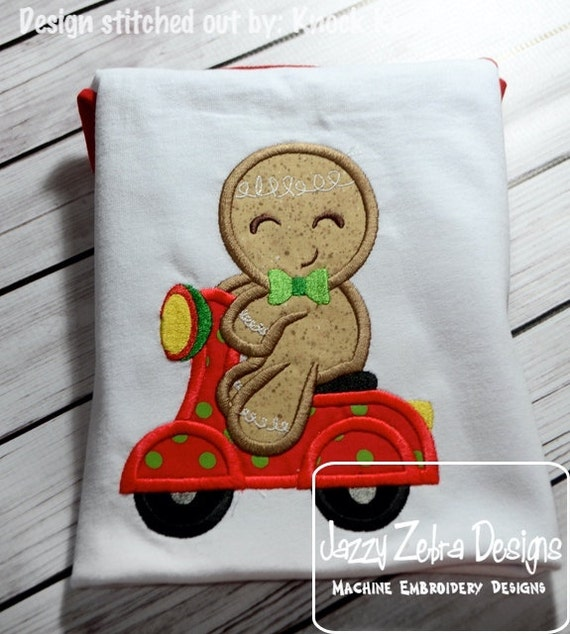 Gingerbread Man on scooter Applique Embroidery Design - gingerbread boy appliqué design - Christmas Applique Design - boy appliqué design