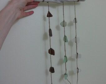 natural jute sea glass sun catcher, multi strand sea glass mobile, glass wind chime, driftwood rustic chime