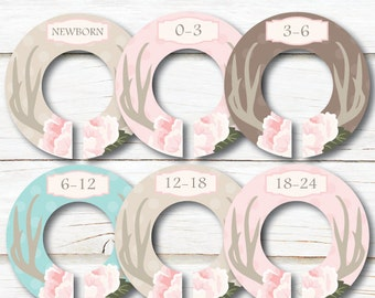 Deer Antlers Closet Dividers, Baby closet dividers, Closet Organizers, Girl clothes dividers, Hunting closet dividers, Flower Dividers C206