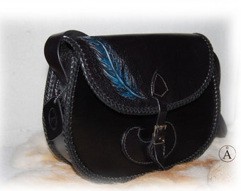 Handbag leather, feather, blue, black, for woman, for girl, handmade