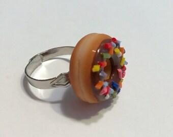 Chocolate Doughnut Adjustable Ring, Polymer Clay Food Jewelry