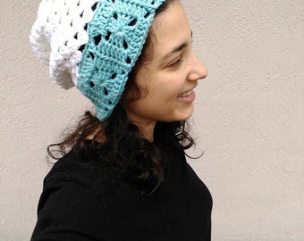 Iced Edge Granny Square Slouch Hat, Women's Slouch Hat, Women's Granny Square Slouch Hat, White Aqua Slouch Hat, Aqua White Slouch Hat