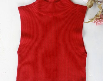 Red Knit Mock Neck Tanktop Sleeveless Sweater