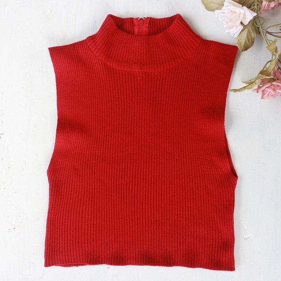Red Knit Mock Neck Tanktop Sleeveless Sweater