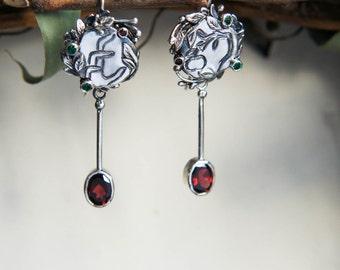 Unique modern earrings, sterling silver earrings, garnet earrings, emerald earrings, contemporary jewelry, long earrings, designer jewelry