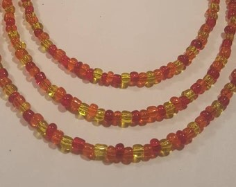 Summer lights seed bead necklace - red, yellow, and orange seed bead necklace your choice of sizes