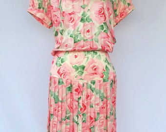 80's Dreamy Watercolor Floral Silk Pleated Drop Waist Dress- By Maggy London By Jeannene Booher