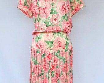 80's Dreamy Watercolor Floral Silk Pleated Drop Waist Dress- By Maggy London By Jeannene Booher