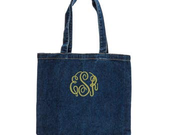Cute Denim Tote with Embroidery Personalization