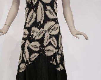 Deco leaf print rayon dress, early 1930s