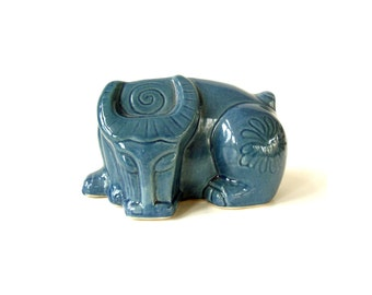 Modernist Ceramic Bull Figure/ Stylized Mid Century Taurus Bull/ Blue Glazed Ceramic Art Pottery Statue Figurine Sleeping Bull/ Zodiac Bull