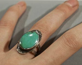 Turquoise Ring - Sterling Silver Jewelry by AdornedinSilver - Size 5.5