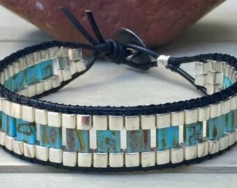 Mens bracelet, mens wrap bracelet, beaded leather bracelet,  gift for him, boyfriend bracelet, leather bracelet, mens beaded bracelet