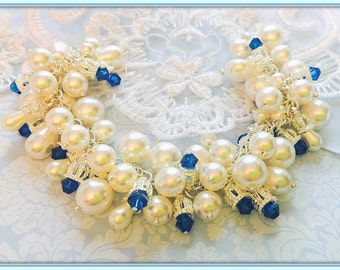 Bridal Pearl and Crystal Bracelet,AAA Swarovski White Crystal Pearls and Sapphire Blue Crystals,STERLING SILVER Bracelet and Crown Caps,