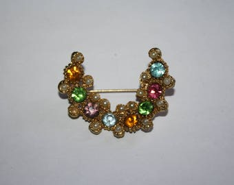 Vintage Gold Tone Crescent Brooch with multi-color Rhinestones / Pin 2 inches |