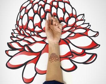 Blooming Flower Temporary Tattoo / Flower Temporary Art Tattoo / Flora Temporary Tattoo / Nature Temporary tattoo / Spring flower tattoo