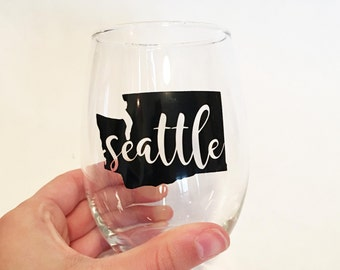 Custom City / State Outline with State Initials Abbreviation in Script Font Stemless Wine Glasses - Back - Seattle, Washington