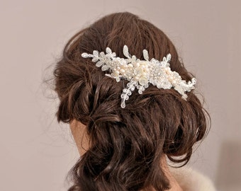 JACQUELINE- Bridal Headpiece Wedding Hair Piece  Hair Flowers Ivory  Pearl Hair Comb Lace Headpiece Ivory Hair Flowers Silver Rose gold