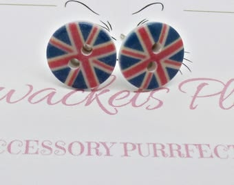 Union Jack Studs, Union Jack Earrings, Small Flag Earrings, Kitsch Retro, London Earrings, UK Earrings  - Fun and Funky