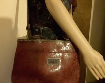 Shoulder/Tote by Relic/Fossil, Hand Tooled Leather,  Brick Red, Brown
