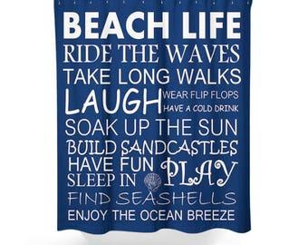 Beach Shower Curtain, Beach House Decor, Beach Life Decor, Coastal Living,  Choose