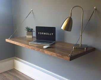 Floating Desk - Wall Mounted Desk - Walnut