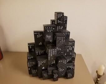 "Block City - 12"" tall city of blocks"