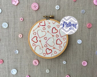 Hearts and Arrows Hand Embroidery Pattern Instant Digital PDF Download. Sweetheart Love Embroidered Hoop. DIY. Valentine's Day. Anniversary.