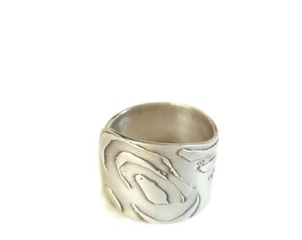Flower Silver sterling ring. Band adjustable Ring, Adjustable Silver Ring. oxidized Sterling silver ring, Open silver ring, Gift for her