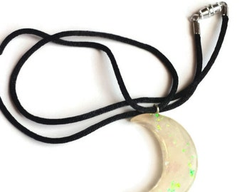 Iridescent Crescent Moon  Resin Pendant, Charm Necklace, Jewelry, Stocking Stuffer, Christmas Gift,