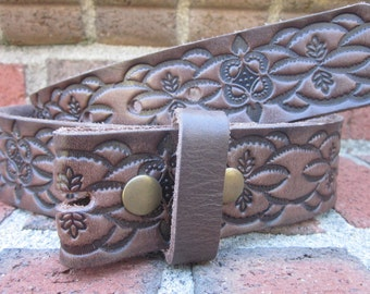Size small (32inch )  100% Full Grain soft Leather western floral Embossed  Western snap  belt strap brown belt strap with snaps