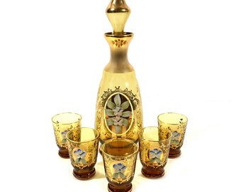 Bohemian Style Venetian Amber Glass Decanter Set with Enamel Flower Accents & 5 Cordial Shot Glasses