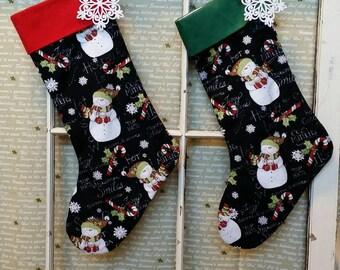 Handmade Christmas Stocking Chalkboard Snowmen Red or Green