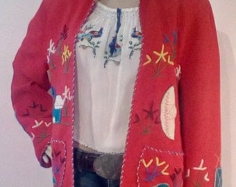 1940s Mexican Embroidered Red Wool Jacket -- Tourist Souvenir from Mexico