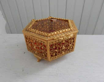 Ormolu Gold Filigree Ring Jewelry Box with Hinged Beveled Glass Hinged Cover -  24Kt Gold Plated Jewelry Box - Hollywood Regency Jewelry Box