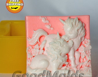 Unicorns mold Food grade mold silicone molds mold for soap mold animal mold silicone mold Free shipping