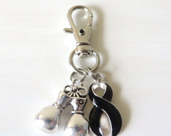 Black Awareness Zipper Pull Key Chain YOU Select Charms Melanoma Skin Cancer