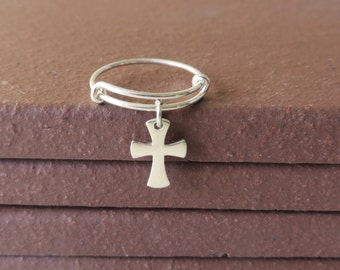 Bangle Ring Expandable Sterling Silver Religious Cross Ring