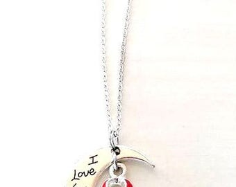Red Awareness I Love You To the Moon and Back Necklace You Select Chain Material and Length